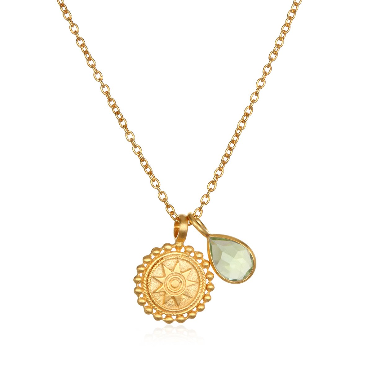 Satya Jewelry Womens Mandala Peridot Birthstone Pendant Necklace 16-Inch +2-Inch Extension, Green, One Size