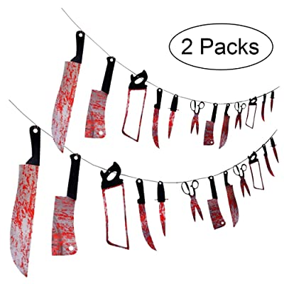 24PCS Halloween Bloody Props Weapons Banners Garland - Vampire Zombie Party Decorations Supplies: Toys & Games