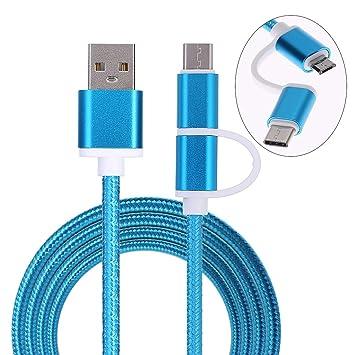 Xuniu Cargador Micro USB Cable, 2.0 Macho a USB 3.1 Tipo C/Micro USB Weave Datos de Cable de Carga rápida
