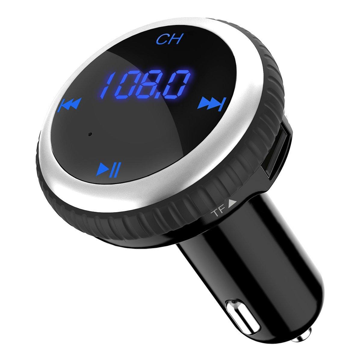 CHGeek Bluetooth FM Transmitter 5V/2.1A KFZ Auto Lokalisierer Wireless mp3 Player Audio Radio Adapter freisprecheinrichtung mit 2 USB Ladegerä t, LED Anzeige fü r iOS und Android Gerä te (Schwarz) CH09