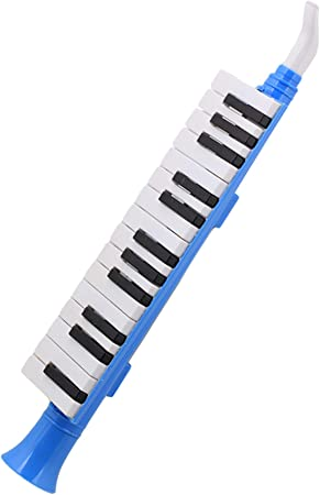 Yibuy Azul Plástico 27 Teclas Melódica Boca Órgano Viento Piano QM27A Negro Blanco Teclado para Niños