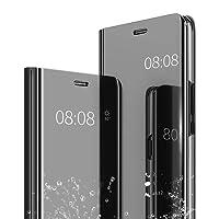 iPhone XS Max Hülle Spiegel Cover,Caler Case Flip Schutzhülle Clear View Tasche Handyhülle mit Handy Ultra Dünn Stoßfest Standing Bookstyle Slim Fit Shell Transparent (Schwarz)