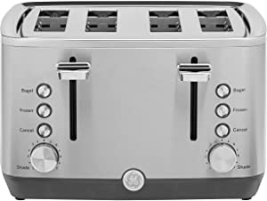 GE 4-Slice Toaster, Easy-to Use 1500 Watt Toaster with Pre-Set Controls for 7 Shade Settings, Bagels & Frozen Items, Extra-Wide Slots for Bread & Bagels, Stainless Steel, G9TMA4SSPSS