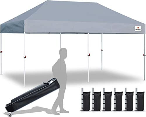 Keymaya 10×20 Ez Pop Up Canopy Tent Commercial Instant Shelter Canopies Bonus Heavy Duty Weight Bag 6-pc Pack 10×20, Gray