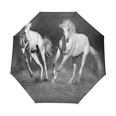 Naanle Couple Horses Desert Auto Open Close Foldable Windproof Travel Umbrella