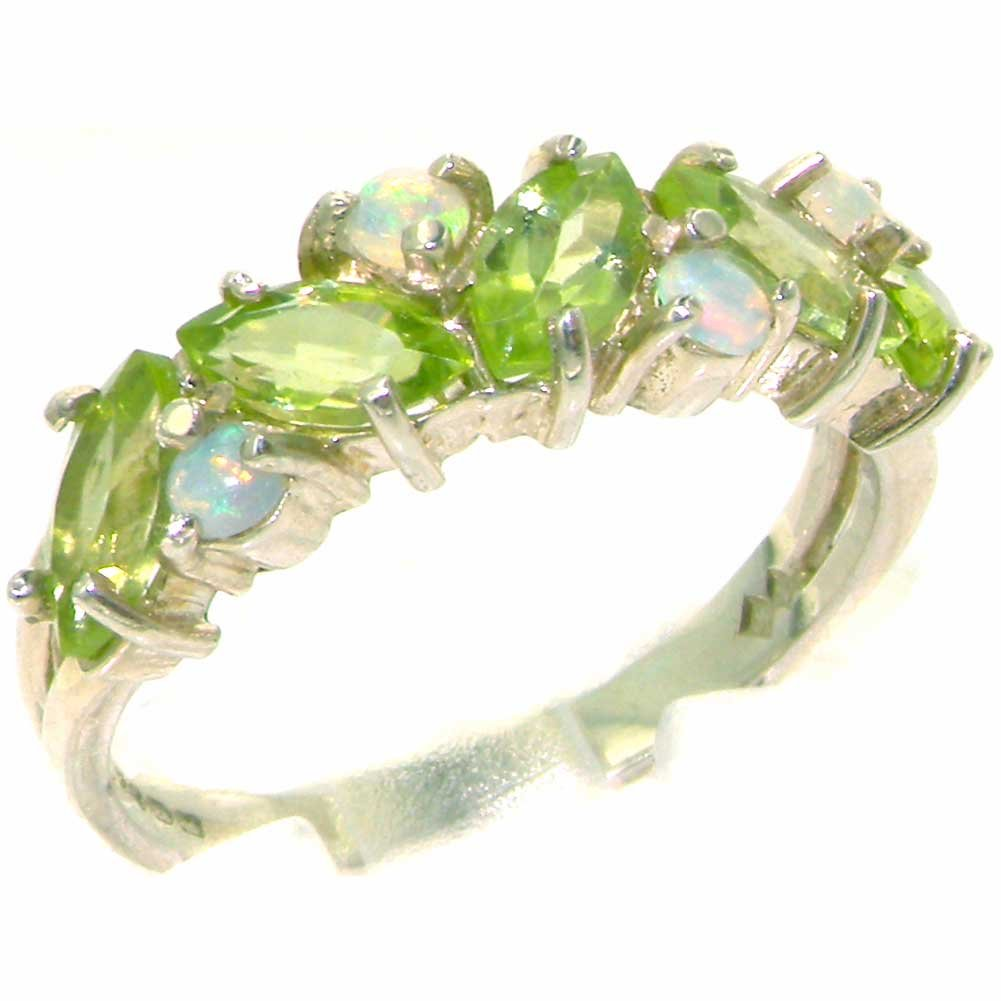 925 Sterling Silver Natural Peridot & Opal Womens Eternity Ring - Sizes 4 to 12 Available by LetsBuySilver