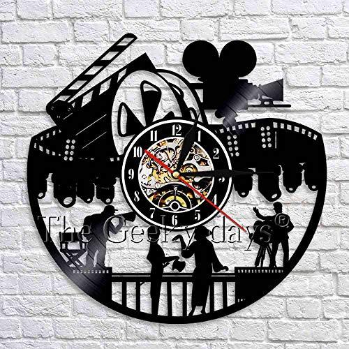 (GZGJ Cinema Sign 3D Wall Clock Vintage Vinyl Record Wall Watches Clock Filming Wall Art Decor Modern Movie Theater Wall Decor)