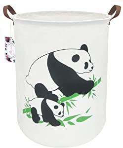 "TIBAOLOVER 19.7"" Large Sized Waterproof Foldable Canvas Laundry Hamper Bucket with Handles for Storage Bin,Kids Room,Home Organizer,Nursery Storage,Baby Hamper (Pandas)"