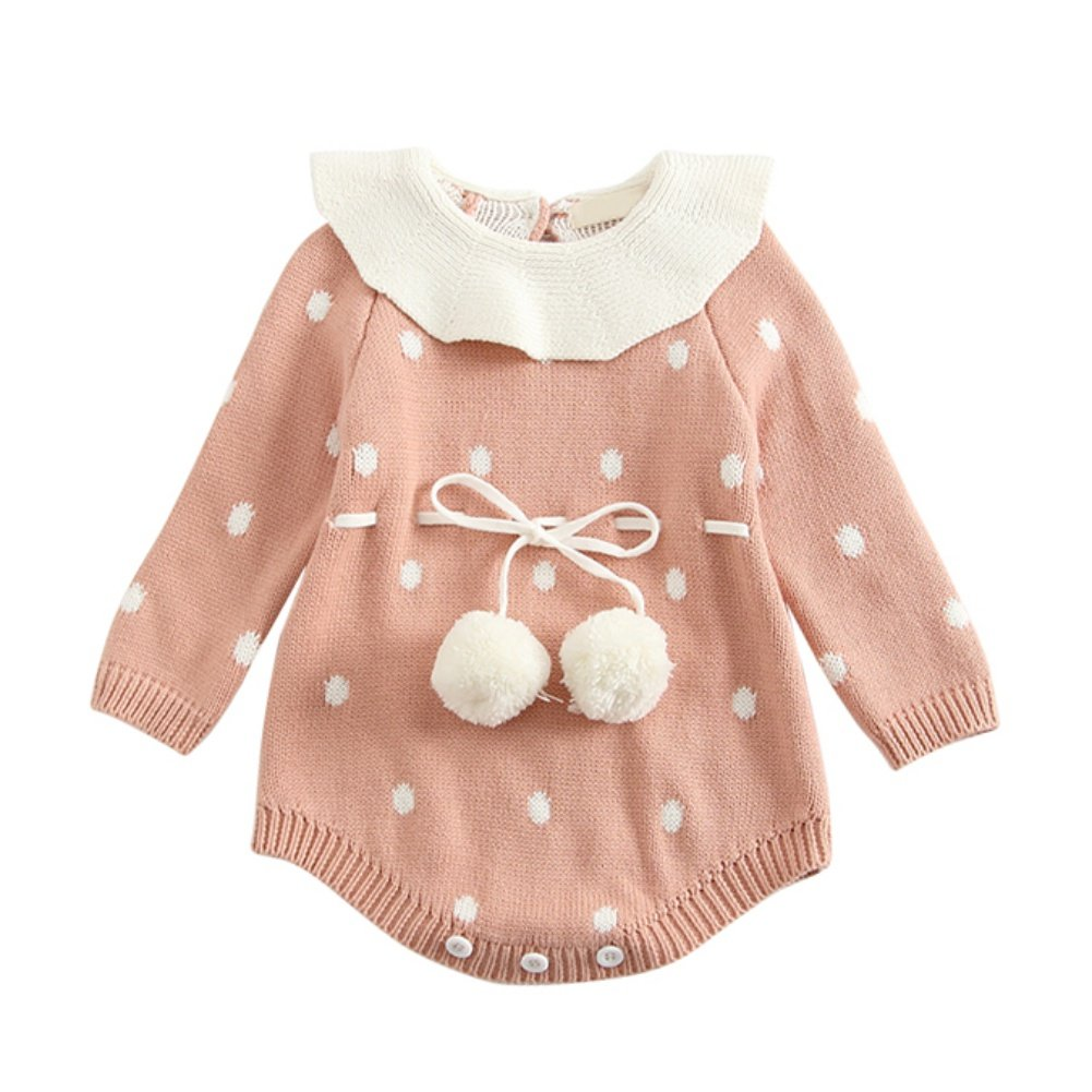 BOBORA Newborn Infant Baby Girl Thick Warm Romper Clothes Knitted Cotton Polka Dots Jumpsuit Sweaters for 0-24 mths BO-UK687