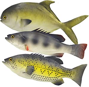 Ailejia 3pcs Simulated Animal Fake Fish Model for Home Decor, Market Display, Photography Prop Kids Toy Kitchen