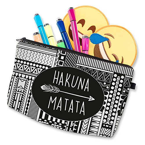 Roomy Cosmetic Bag,3 piece Set Deanfun Waterproof Travel Toiletry Pouch Makeup with Zipper (Hakuna Matata) by Deanfun (Image #8)
