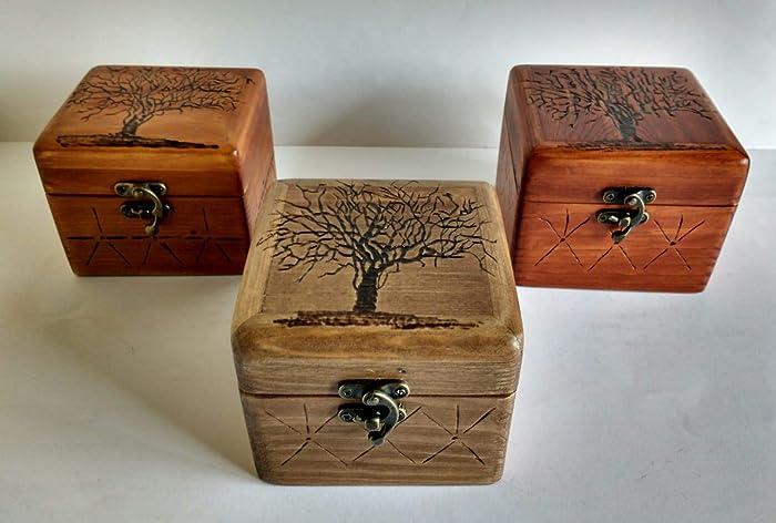 Caja De Pirográfico Reciclada Joyero Madera Grabado Palet Con wO0XnPk8