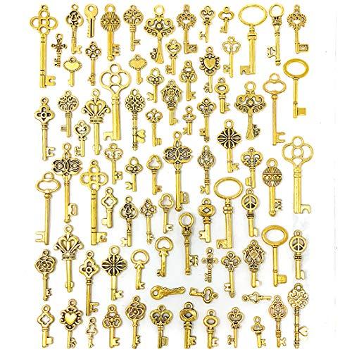 80 dijes de llaves vintage - color dorado (15 - 46 mm)