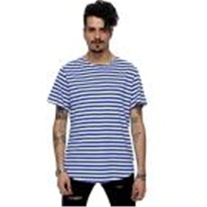 Sky Los Hombres Sueltan Rayas Manga Corta Camiseta Imprimir Blusas de La Blusa Casual Algodón S