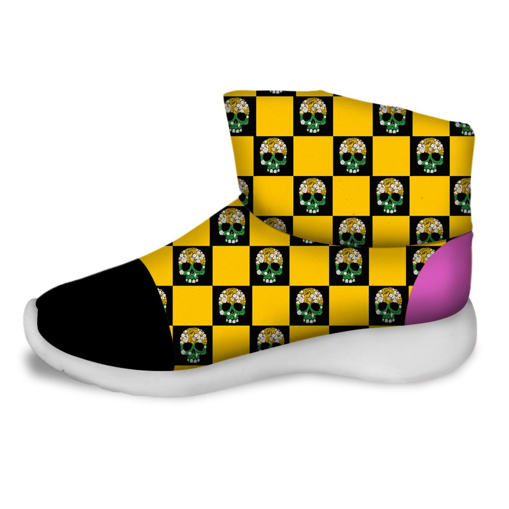 FOR U DESIGNS Fashion Skull Print Warm Short Snow Boots For Kids Yellow US 3