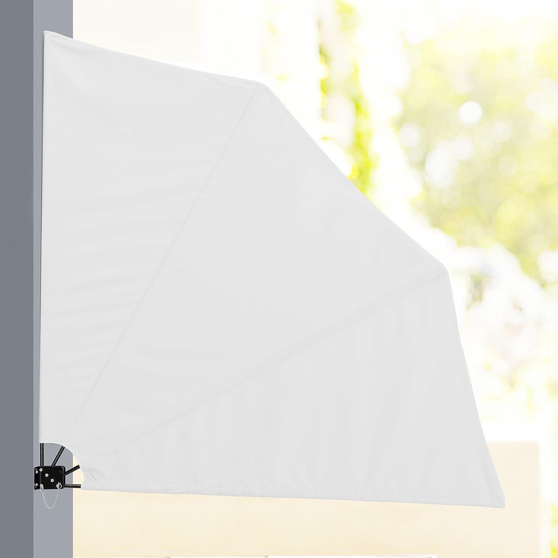 casao] Balkon Fächermarkise weiß 160 x 160 cm Sichtschutz