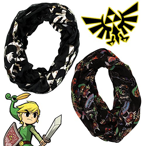 Legend Of Zelda Skyward Sword Costume (Nintendo Legend of Zelda Master Link Sword Costume Infinity Scarf Knit - 2 Pack)