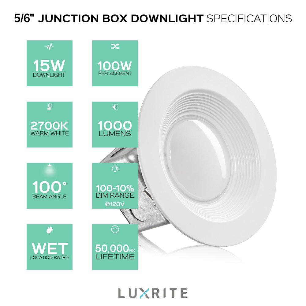 Luxrite 5/6 Inch Junction Box LED Downlight, 15W (100W Equivalent ...