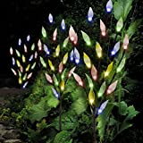 Set of 3 Solar Powered Tree Branch Lights for Garden Decorations with Leaf Design | Fairy Decorative 60 LED for Patio, Decking, Pathway | Multi Col