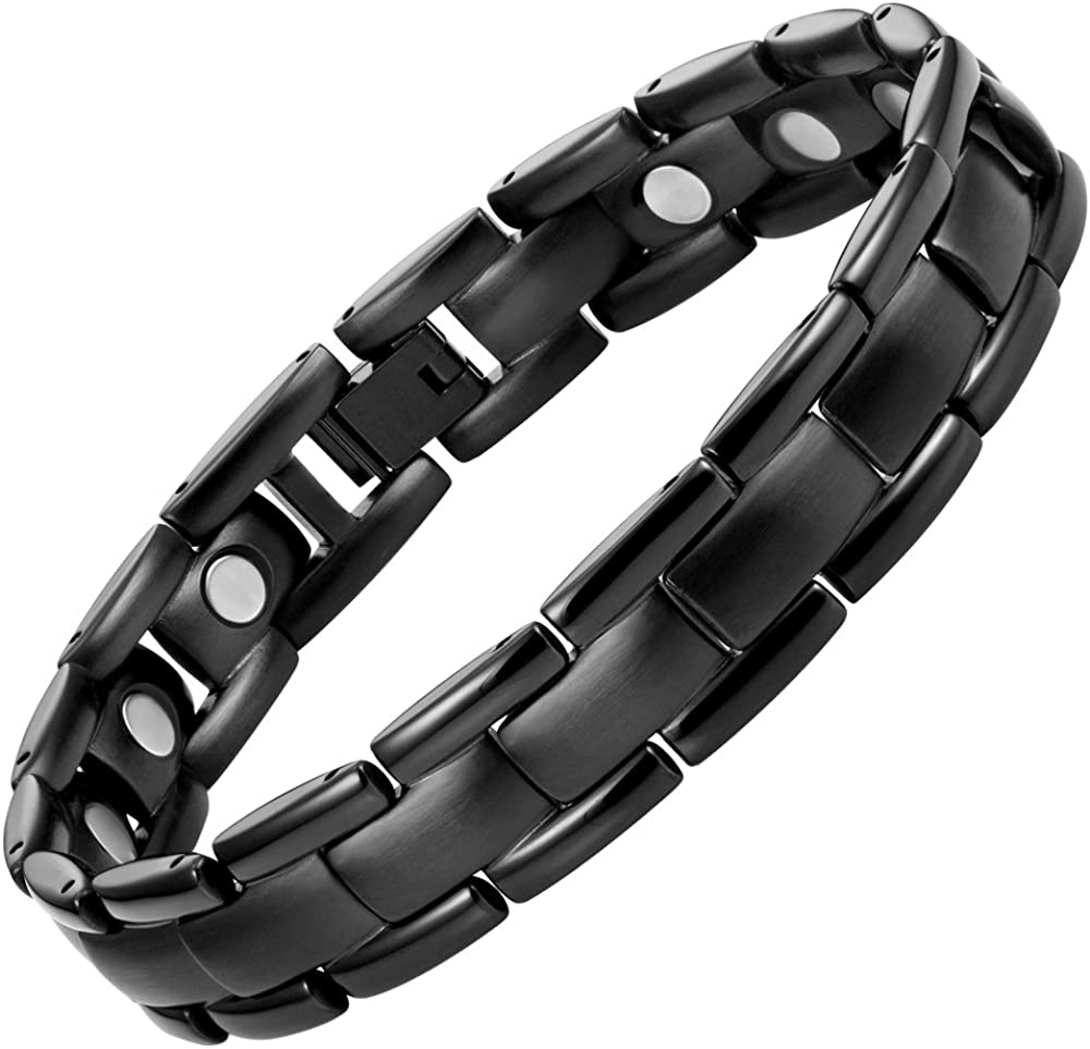 Willis Judd Mens Titanium Magnetic Therapy Bracelet Black Adjustable for Pain Relief Arthritis and Carpal Tunnel