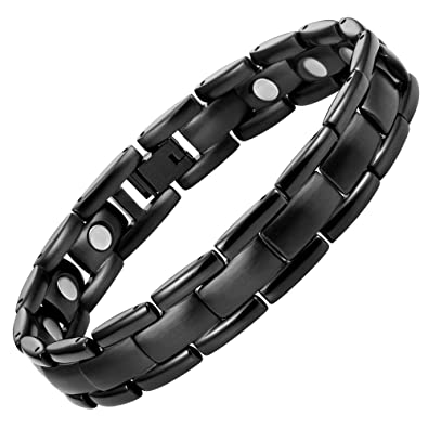 69e7755fb1b Amazon.com  Willis Judd Mens Titanium Magnetic Therapy Bracelet Black  Adjustable For Pain Relief Arthritis and Carpal Tunnel  Men S Bracelet   Jewelry