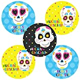 """In a set, you will receive 30 (Thirty) Sugar Skull Thank You Sticker Labels Sticker Labels. Each says, """"Muchas Gracias!"""" There is a total of 3 different graphics.  Each sticker is about 2 inch in diameter.   Handmade."""