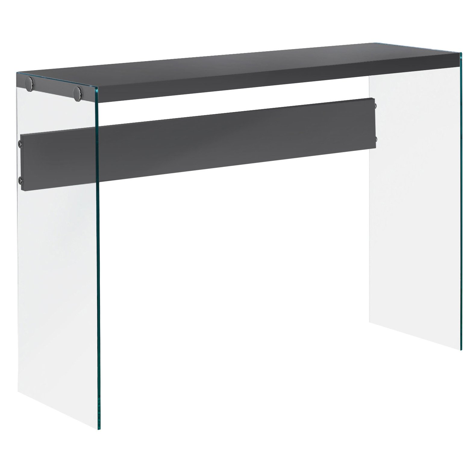 Monarch specialties , Console Sofa Table, Tempered Glass, Glossy Grey , 44''L by Monarch Specialties