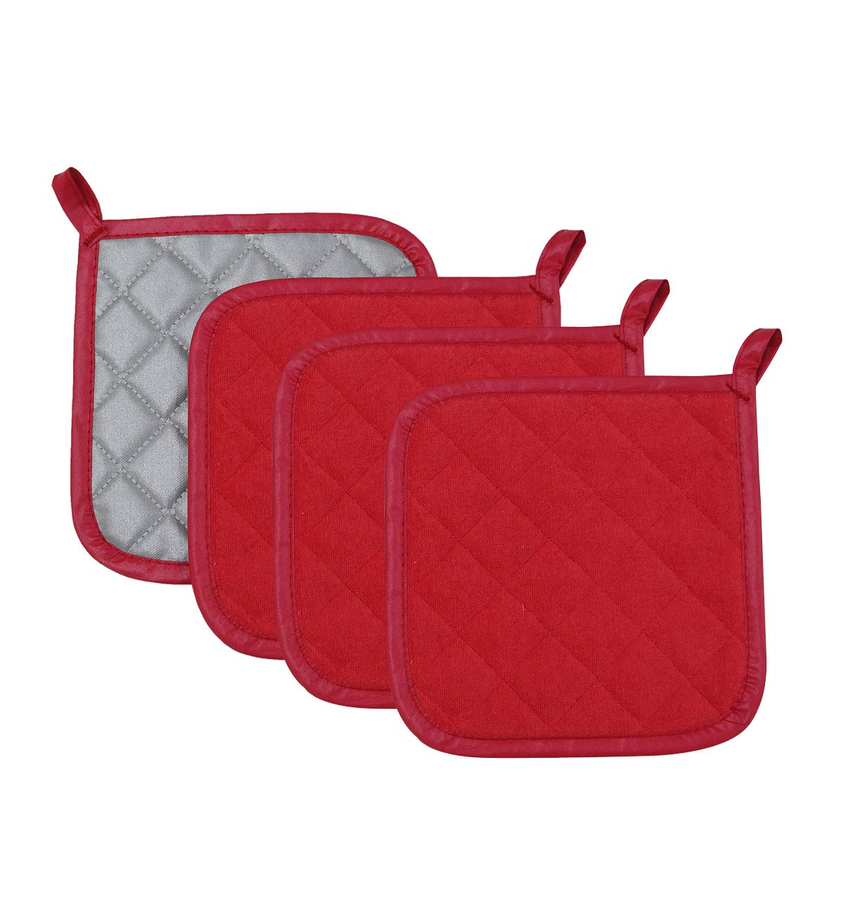 100% Cotton Made Pot Holder Heat Resistant Coaster Potholder for Cooking and Baking (4, Red)