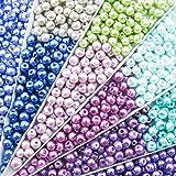 Toaob 1000 Piezas 4 mm Tiny Satinado Brillante Perlas de Vidrio Perlas Multicolor al por Mayor abalorio Sueltas para Hacer Joyas
