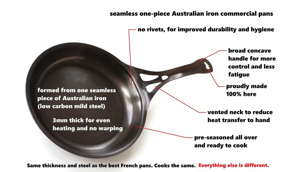 3mm Australian Iron AUS-ION Open Flame Perforated Skillet 10 Commercial Grade Cookware 10 25cm 25cm 100/% Made in Sydney SolidTeknics AUS-GM10 Smooth Finish