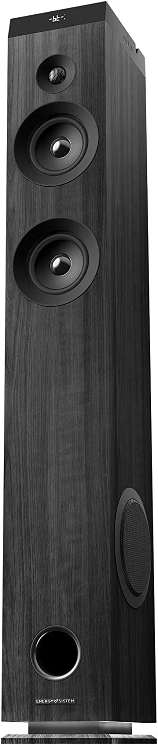 Energy Tower 7 Torre de sonido con Bluetooth, tecnología True Wireless y luz de ambiente (100 W, Display, USB/ MicroSD, Radio FM)