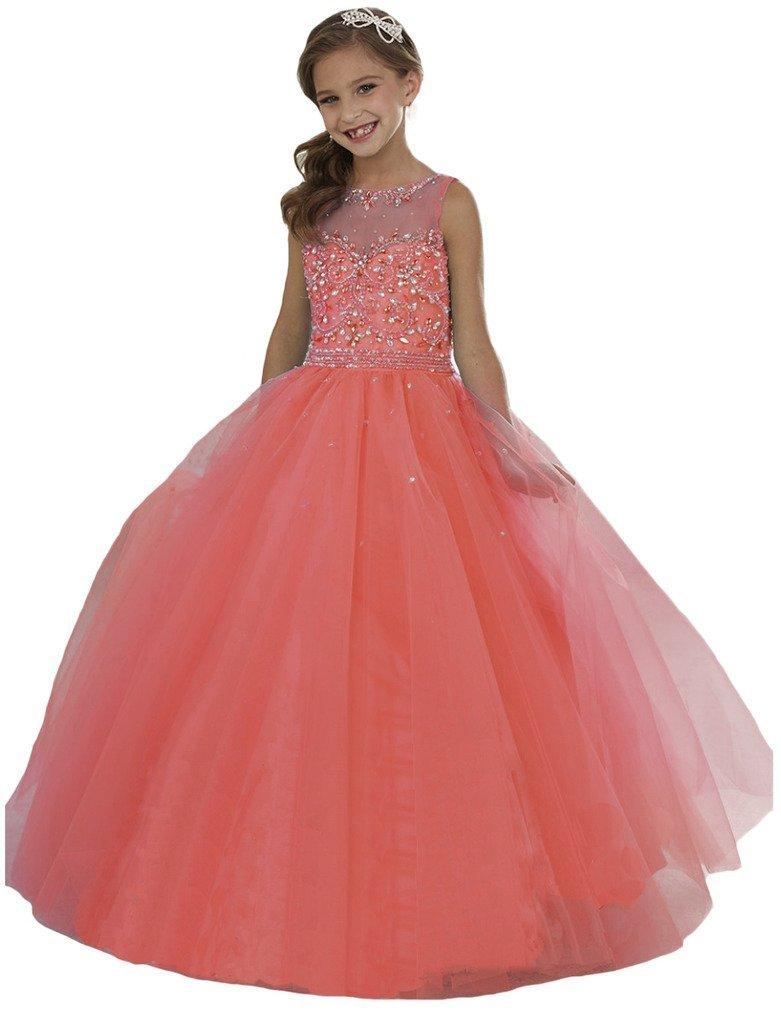 Wenli Girls' Sheer Neck Beaded Rhinestones Pageant Dresses 8 US Coral