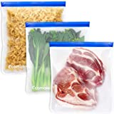 Ecomore Reusable 2 Gallon Freezer Bags - 3 PCS 2 Gallon Food Storage Bags LEAK-PROOF EXTRA THICK Reusable Lunch Sandwich Bags