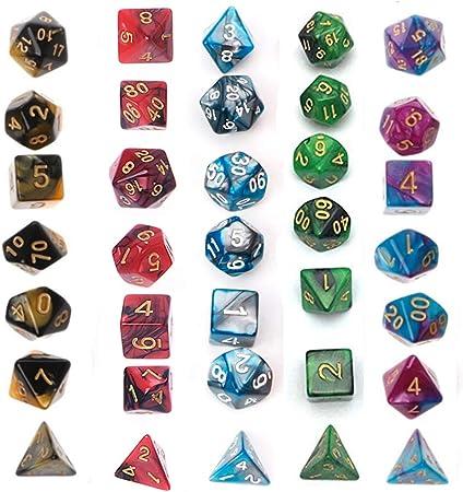 Juego de Dados Simple, poliédrico, 5 x 7-Die Series Dungeons and ...