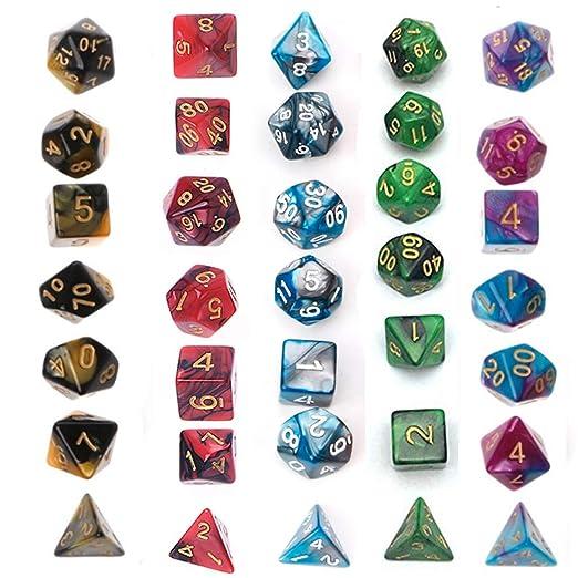 Juego de Dados Simple, poliédrico, 5 x 7-Die Series Dungeons ...