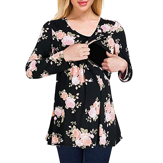 9ce1b4c75e43 Hinxinfree Maternity nursing top for women Print Nursing Round Neck Casual  Top Breastfeeding Blouse  Amazon.in  Clothing   Accessories