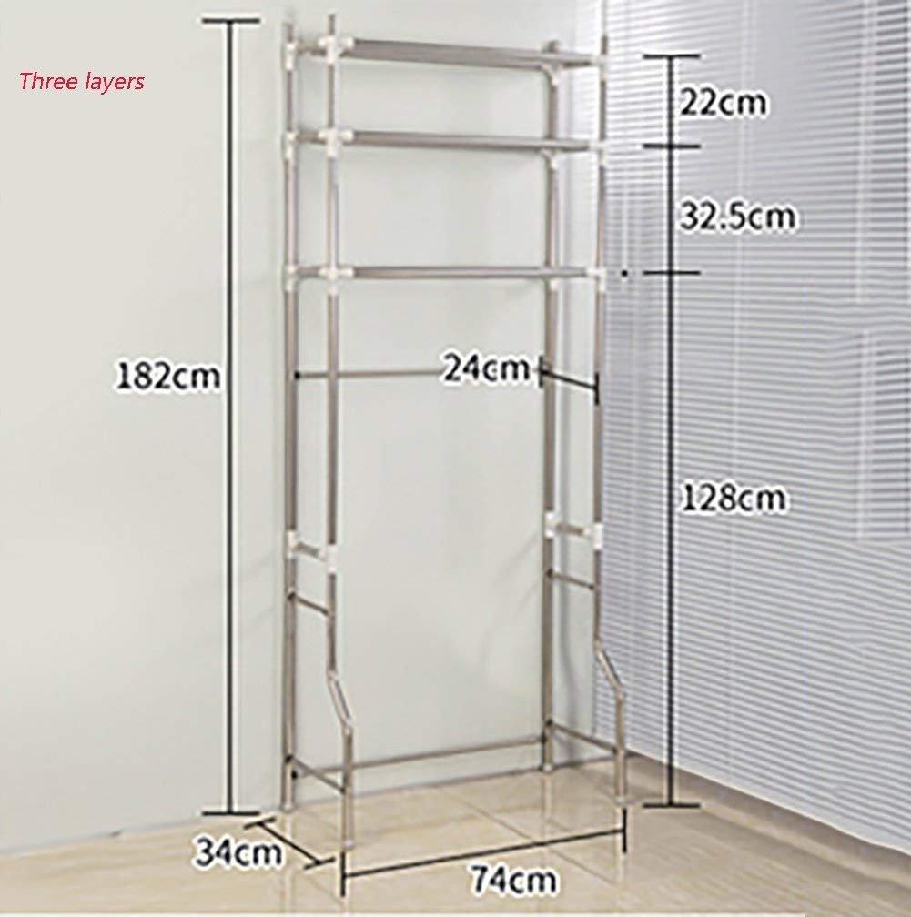 DEE Shelf-Hwf Estantes de baño Lavadora Rack Estante para Productos básicos Baño Toilet Rack Floor Type Stainless Steel,Tres Capas