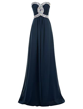 Erosebridal Long Evening Dresses Crystal Beaded Bridesmaid Dresses Ruched Bodice Ball Gowns UK 16 Navy Blue