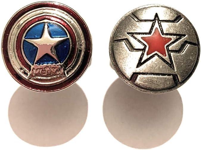 giulyscreations - Gemelos para Camisa, Capitán América, Metal, níquel Libre, inspirados en Capitán América, Escudo Bucky Burnes Winter Soldier, Superhéroes, Vengadores, Fantasy Pop Cosplay: Amazon.es: Joyería