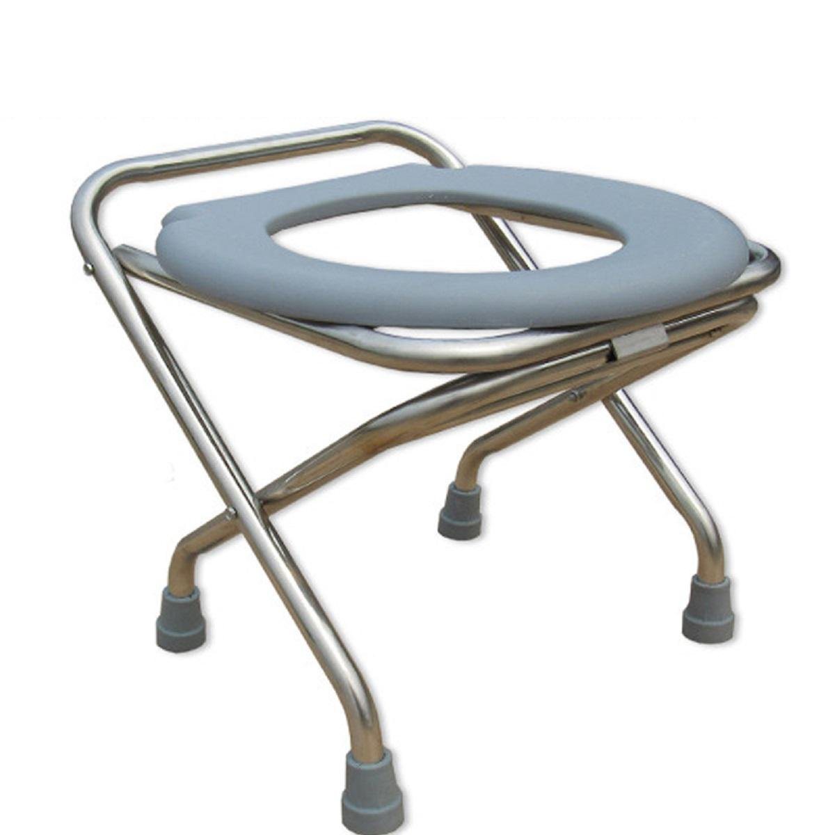 GAOJIAN Commode Chair Pregnant Woman Thickening Comfortable Toilet Stainless Steel Folding Elderly Bathing Chair