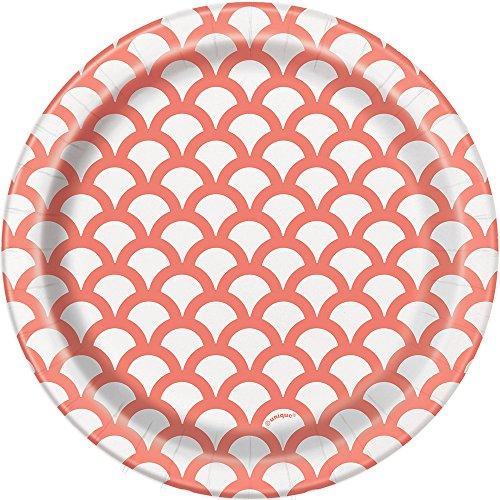 Teal & White Scallop Print Dessert Plates, 8ct