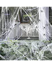 1600 Sqft Spider Web 150 Fake Spiders Web Halloween Decorations, Super Stretch Spider Web for Scary Halloween Decor Outdoor Indoor Yard Party Props Supplies