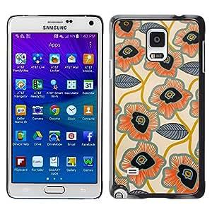 [Neutron-Star] Snap-on Series Teléfono Carcasa Funda Case Caso para Samsung Galaxy Note 4 [Deja Dibujado Patrón Mano Flor Arte]