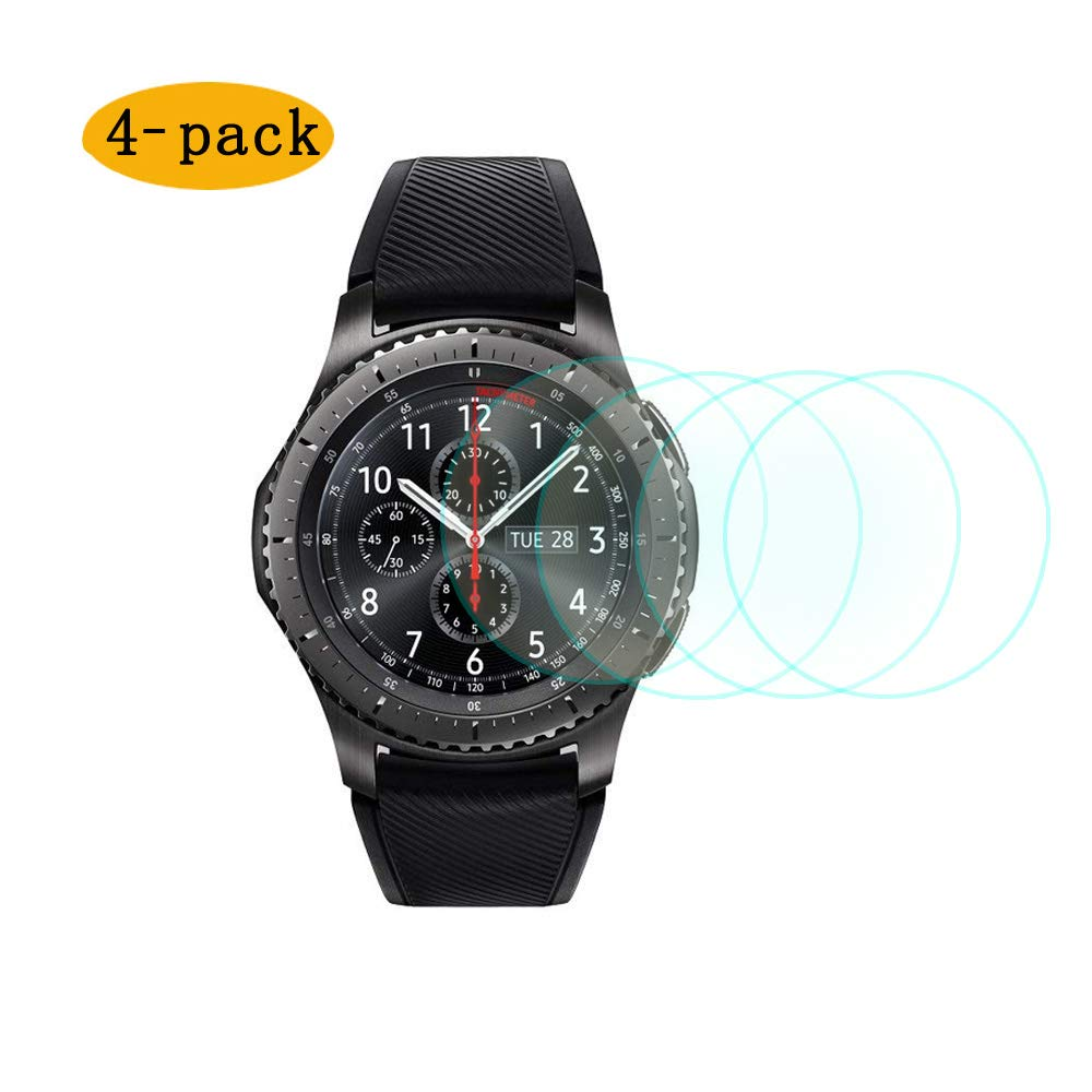 CKANDAY 4 Pack Protector Pantalla Samsung Gear s3 Frontier Classic smartwatch,Reemplazo Funda Protectora de Vidrio Templado Anti arañazos Cobertura ...