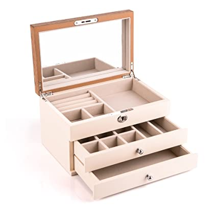 327c616fa Amazon.com: HEZALA Wooden Jewelry Organizer, Lockable Jewelry Box Storage  Case with Large Mirror for Necklaces, Bracelets, Earrings - Beige: Home &  Kitchen