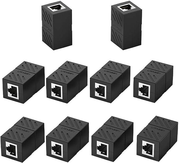 DEFACE RJ45 Coupler 6 Pack Cat8 Cat7 Cat6 Cat5e Female to Female Ethernet Adapter Black