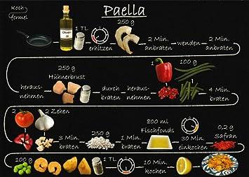 """Paella/"""" Rezept-Postkarte /""""Spanische Rezepte"""