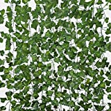 Sunm boutique 12 Pack Artificial Ivy Leaf Greenery Hanging Vine Plants Leaf Garland Hanging for Wedding Party Garden Outdoor Greenery Office Wall Decoration