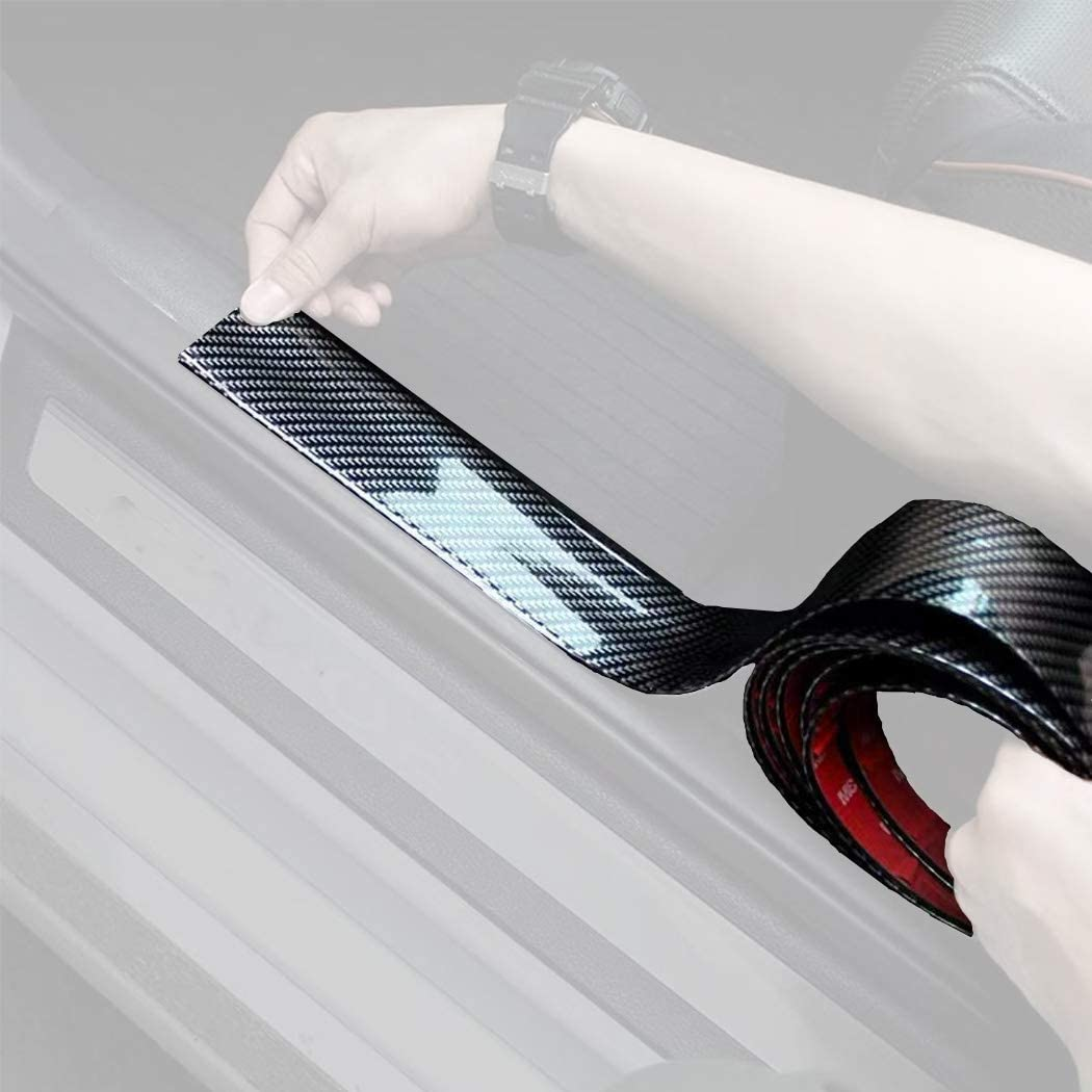 Width 5CM Long 2.5M 8.2 Feet DIY Cutting Carbon Fiber Car Door Pedal Bumper Cover Scratch Cover Protector Paint Threshold Guard Waterproof Door Guard Rear Bumper Guard Scratch Protection Strip