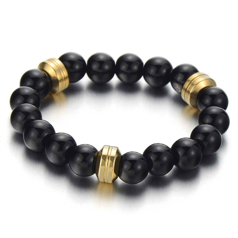 Mens Womens Black Onyx Bracelet, Steel Gold Color Charm, 10mm Beads Buddhist Prayer Mala, Synthetic COOLSTEELANDBEYOND MB-913-CA